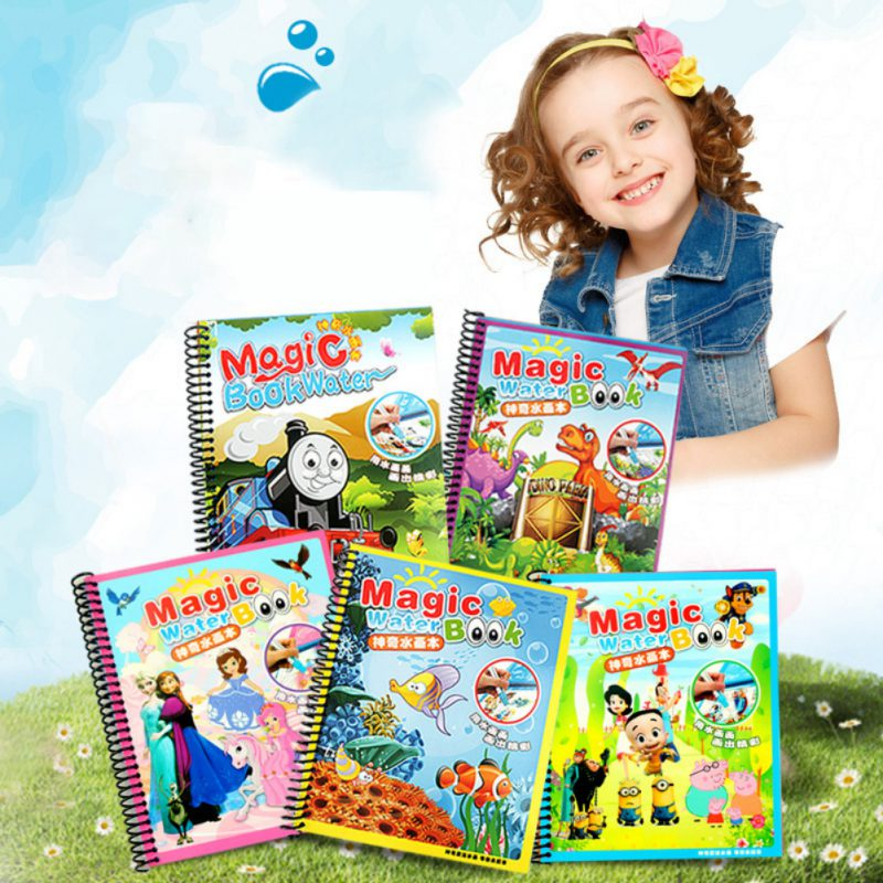 4 Colors Magic Water Drawing Coloring Book Doodle with Magic Pen Painting Set Juguetes F ...