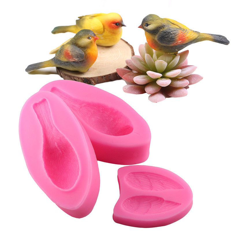 Mujiang Cute 3D Bird Silicone Mold Cake Topper Fondant Cake Decorating Tools Kitchen Baking Chocolate Candy Gumpaste Clay Molds