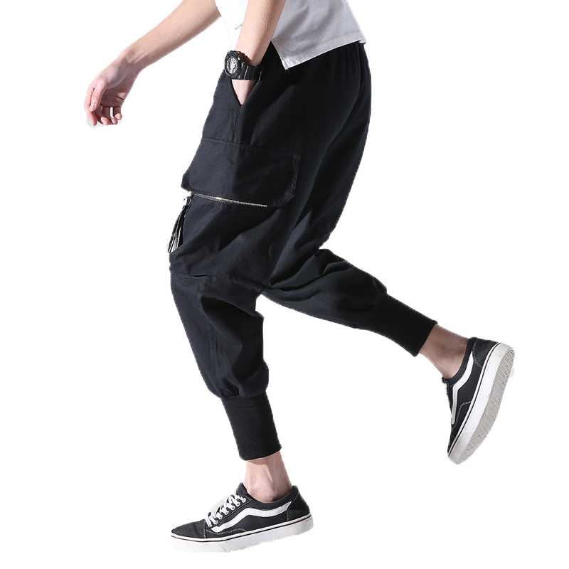 Casual Trousers Pants Patchwork Cargo Loose Hip-Hop Man Waist Ankle-Length Ripped Men