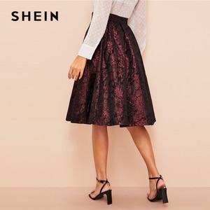 Image 4 - SHEIN Vintage Gold Flower Print Mid Waist Flare Knee Length Skirt 2018 Autumn Elegant Modern Lady Women Skirts