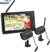 Sistema Outdoor Home Security Camera grabadora inalámbrica visión nocturna de vídeo 2 cámaras de vigilancia con Monitor de envío gratis