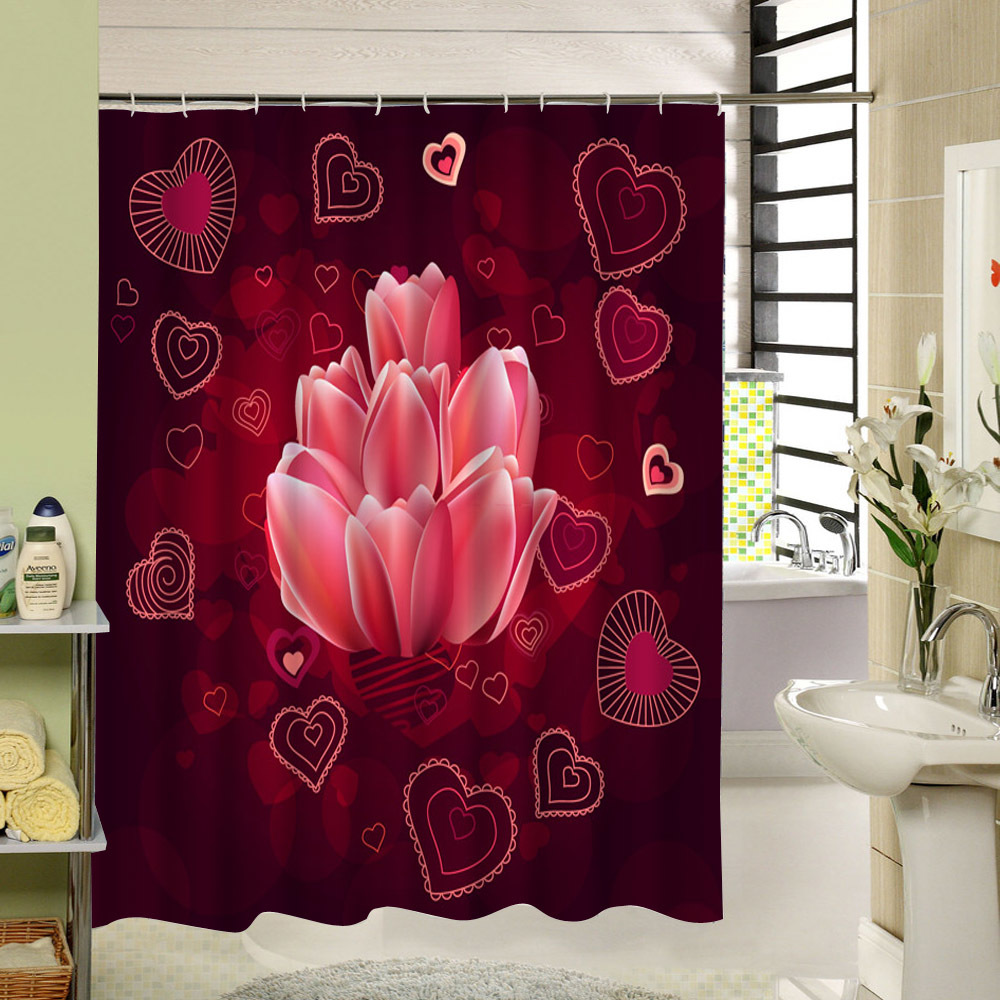 Bathroom shower curtain red - Modern Pattern Water Resistant Bathroom Curtain Waterproof Mildew Free Shower Curtain Red Floral Set With 12