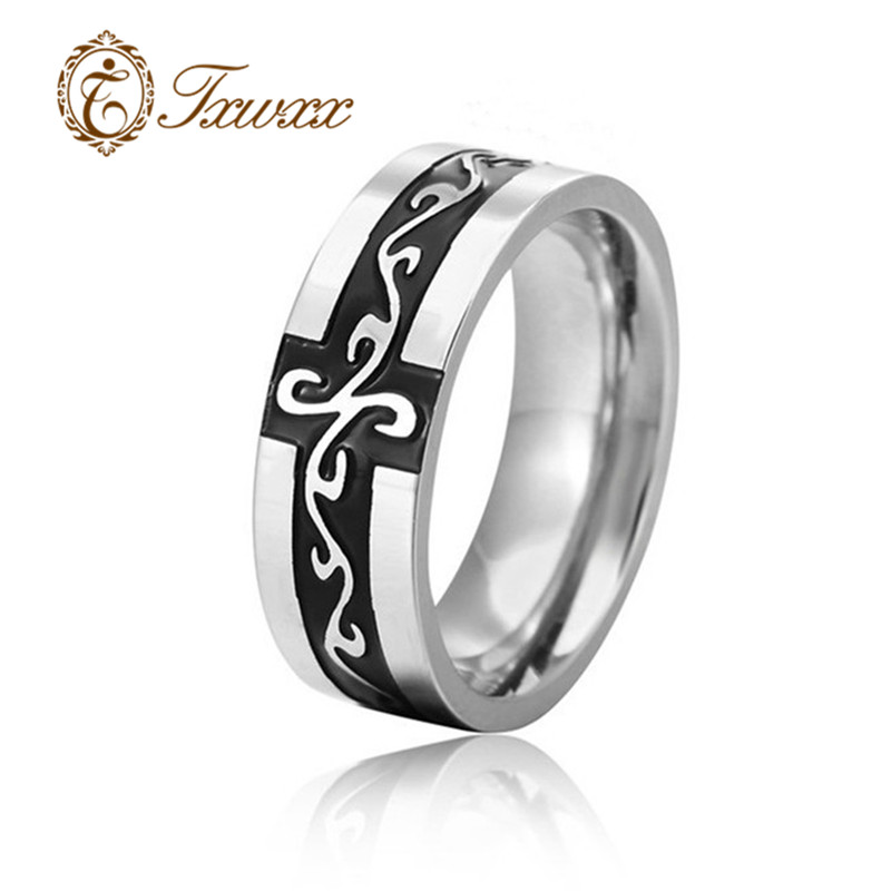 Charm Black Colors Cross Pattern Irish Dragon Titanium Steel Ring