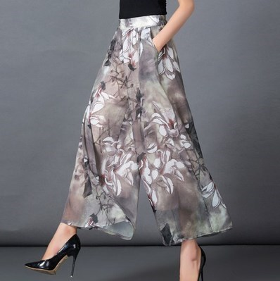 Elegant Floral Print Wide Leg Pants Women High Waist Skirt Loose Bell Bottom Trousers Chiffon Culottes Palazzo - EASY GOING STORE store