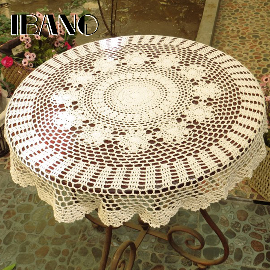 Handmade Vintage Crochet Coasters Cotton Lace Cup Mat Placemat 70/80/90/100 / 110CM RD Lusuh Chic DIY Crocheted Table Cloth