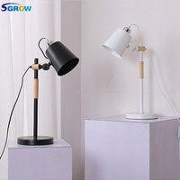 SGROW гладить абажур базы настольные лампы регулируется деревянный рукопожатие настольные лампы для Спальня Гостиная кабинет Lampara Свет