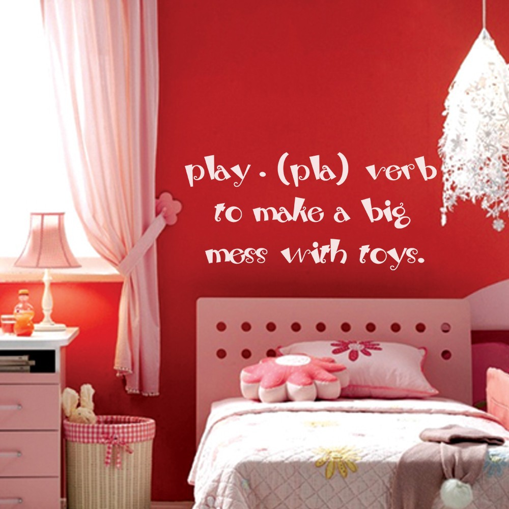 """Play (pla) verb to make a big mess with toys - Baby Nursery Wall Decal Kids Playroom Vinyl Wall Sticker 58"""" x 27"""" L"""
