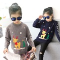 2017 Spring New Year han edition fashion kids christmas sweaters round collar girls christmas deer cartoon sweater