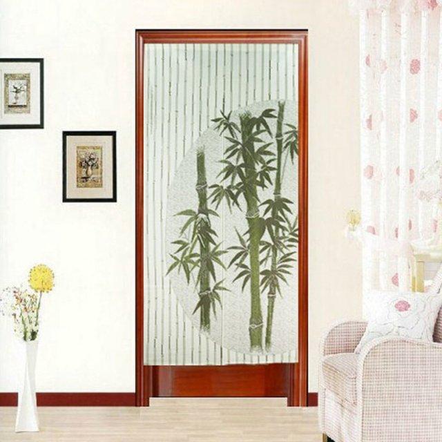 Vert Bambou Imprimé Porte Rideau Tapisserie Chambre Diviseur Porte