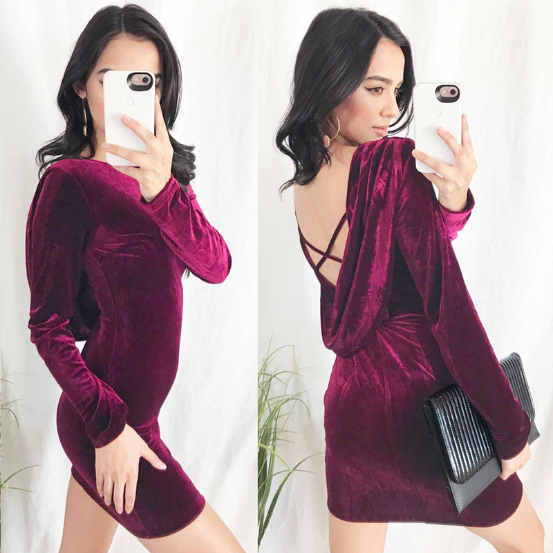 Fashion women 2019 spring and autumn new long-sleeved elegant round neck sexy backless mini dress Ladies casual slim dress