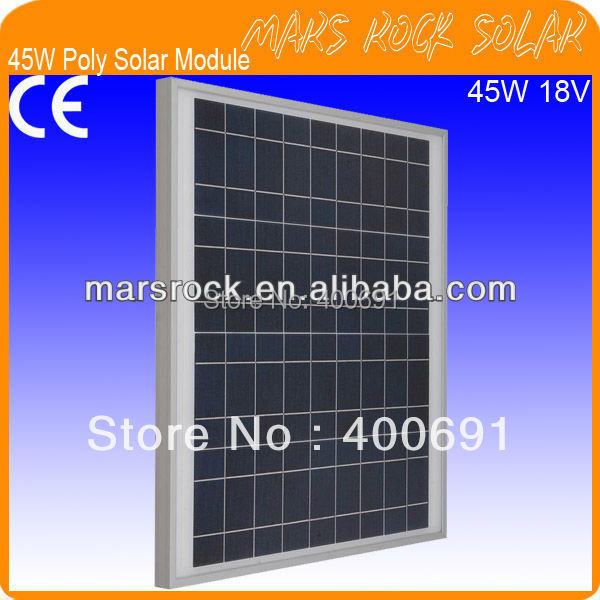 45W 18V Poly Silicon PV Panel Nice Appearance, IP65 Waterproof, 80% Power Warranty within 25 years, Good Performance, CE,TUV,UL45W 18V Poly Silicon PV Panel Nice Appearance, IP65 Waterproof, 80% Power Warranty within 25 years, Good Performance, CE,TUV,UL