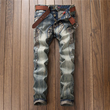Retro blue Men Jeans Spliced New Ripped Distressed For Denim Jeans Male Straight Fit Streetwear Trousers Homme Stretch Pants