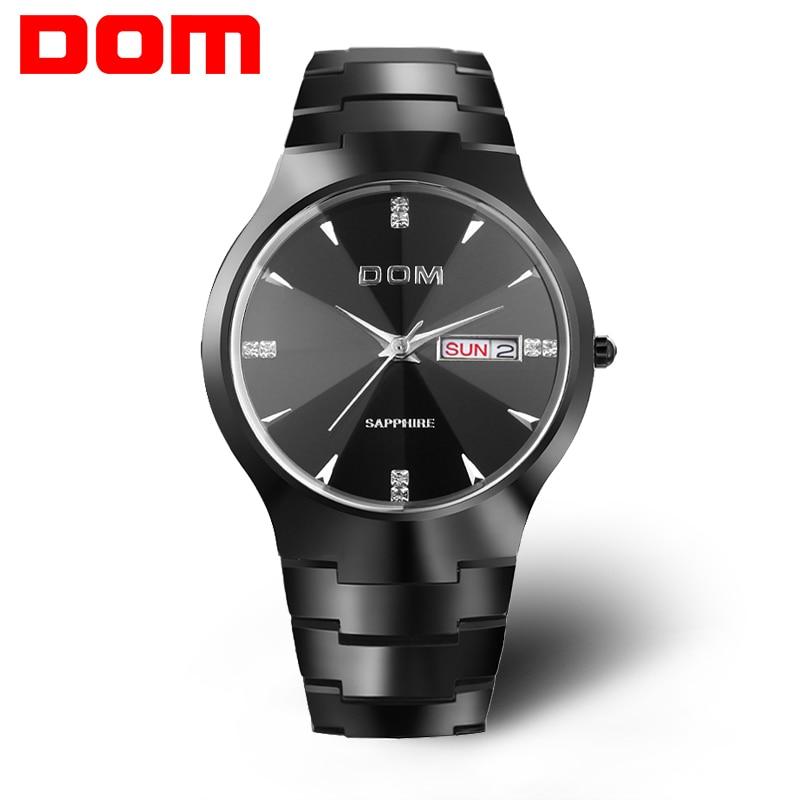 e294ac4596b Homens relógio de Luxo da Marca Top DOM Espelho Safira aço de tungstênio  Reais 30 m