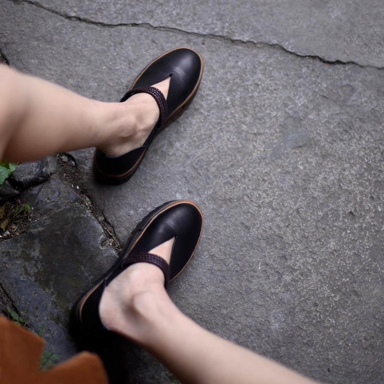 Original Art 806 6 Main Peu Nouvelle Cuir Véritable Imperméables Femmes Profonde Black 2018 gray Printemps Bouche Chaussures Artdiya Épaisse En Semelle d5TxUdwf