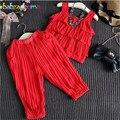La Gasa de La manera Ropa de Las Muchachas Set Loose Harem Pant Mangas Vest + Pant 2 UNIDS Chica Trajes de Navidad Ropa de Los Niños Del Chándal A028