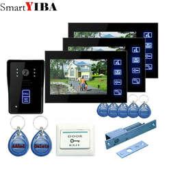 """SmartYIBA 7 """"Проводной видео-телефон двери Системы видеодомофон Поддержка разблокировка удостоверение личности инфракрасного ночного видения"""