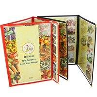 Free Shipping Restaurant Menu Covers 32 2 21 7cm Tri Fold Cover Gold Decorative Corners Set