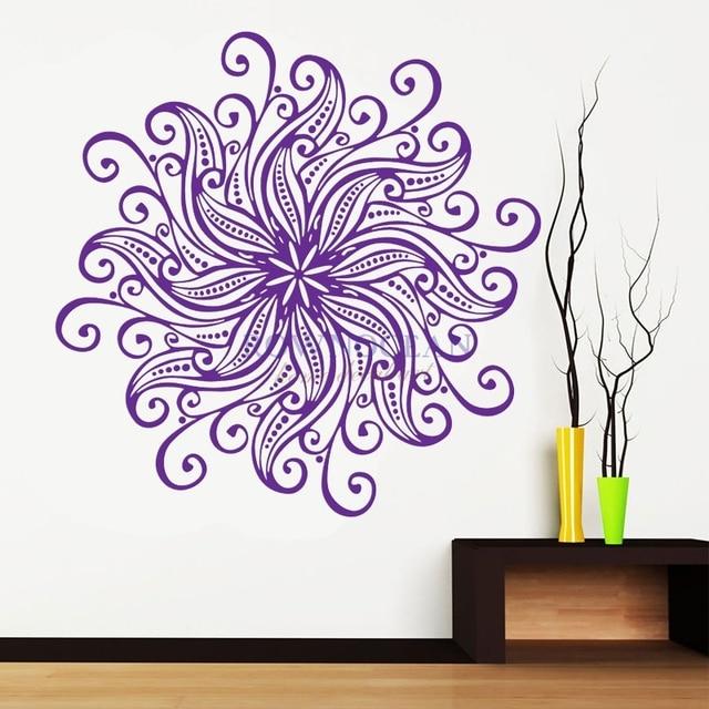 Removable Mandala Interior Wall Sticker Vinyl Art Waterproof Mural Yoga Namaste Symbol Mehndi Home Decor Muraux Datura MA-08