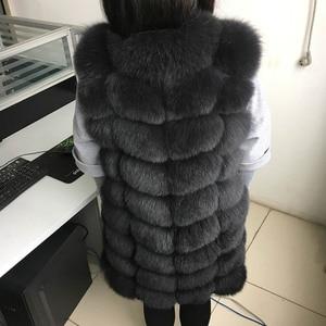 Image 3 - maomaokong 88cm long natural fox fur vest fashion sleeveless fur jacket coat warm female slim park jacket