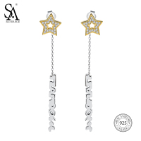 SA SILVERAGE Real 925 Sterling Silver Long Drop Earrings 14K Gold Plated CZ Star Silver Drop