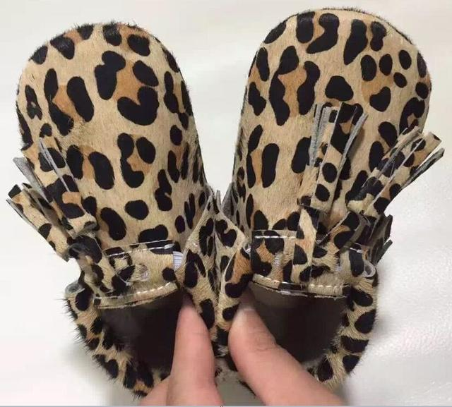 Retail leopard New Top quality Genuine Leather Baby Moccasins Tassel Baby girls dress Newborn First Walker hard sole shoes