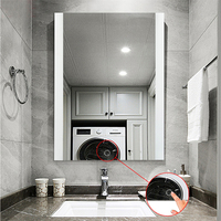 Shower Anti fog Mirror Washroom Bath Mirror for Makeup White Color Adhesive Wall mounted Led Bathroom Mirror France Stock HWC