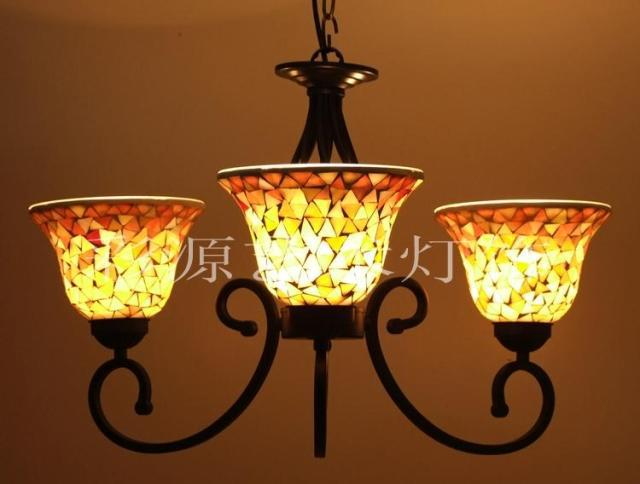European Chandeliers Bedroom Cozy Creative Tiffany Stained Glass Mosaic Chandelier Living Room Den