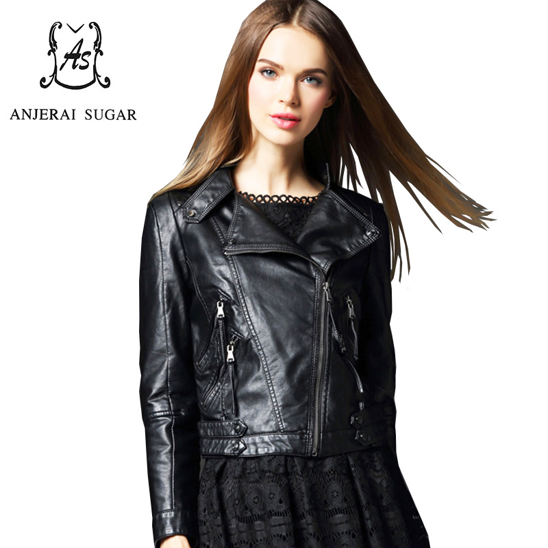 PU mujer leather cuero Winter and women coat jacket chaquetas Black UqPPEnT