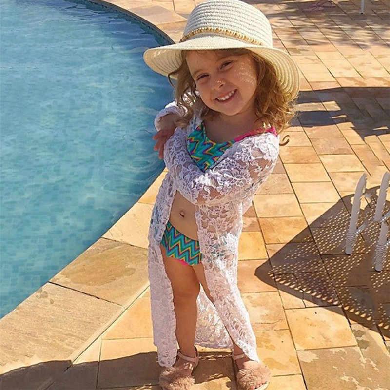 Balita Anak-anak Bayi Perempuan Renda Tabir Surya Pantai Pakaian Luar Busana Blus Katun 2018 Lengan Panjang Kemeja Blusas Rashguard Pakaian