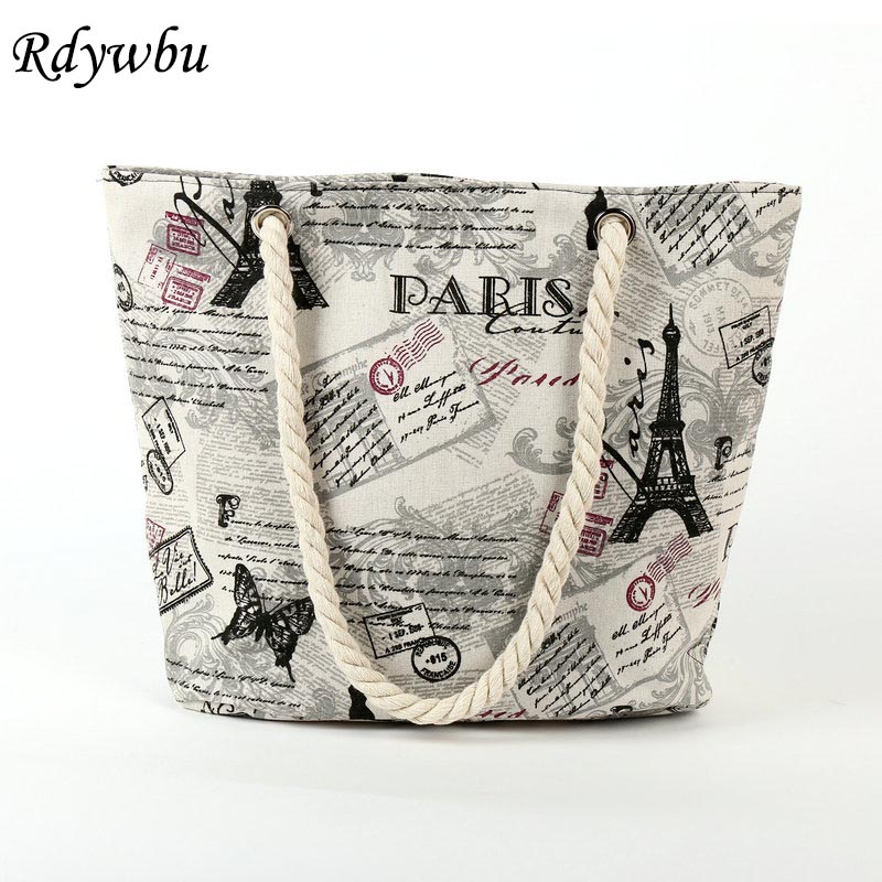 Rdywbu 2018 Paris Tower Shell Printing Canvas Beach Shoulder Bag Women's Creative Rope Shopping Bag Big Summer Tote Handbag B103 rope canvas print beach bag