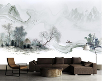Beibehang Simple Chinese New Fashion Personality 3d Wallpaper Chinese Style Ink Landscape Wall Sofa Background Papel