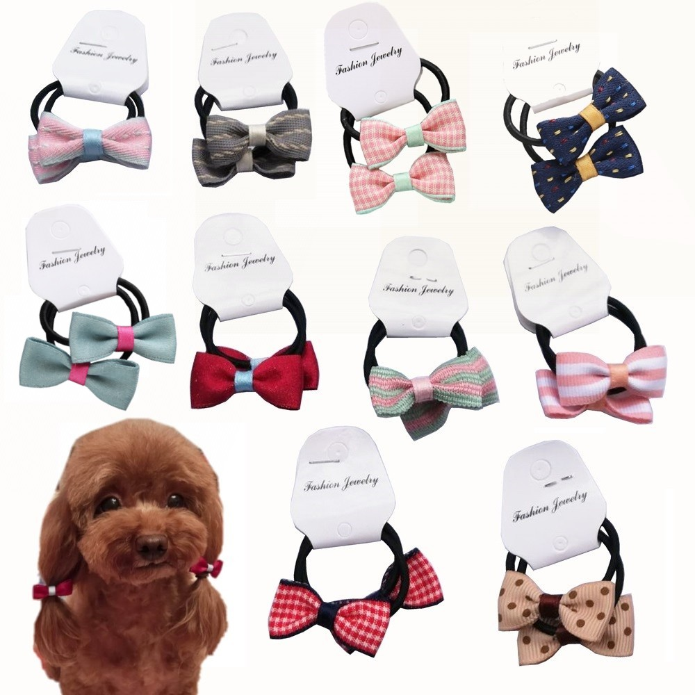 10 20 50Pairs Cute Bowknot Dog Hair Bows Teddy Yorkshire MalteseDog hair Rope Pet Grooming Clips Dog Hair Accessories in Dog Accessories from Home Garden