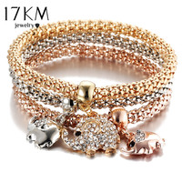 17KM 3Pcs Gold Color Crystal Owl Charm Bracelets F ...