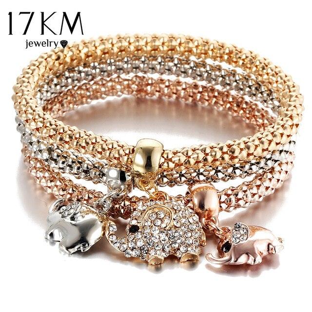 17KM 3Pcs Gold Color Crystal Owl Charm Bracelets For Women Elephant Bracelet Mul