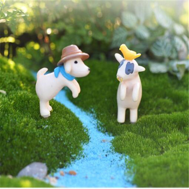 Miniatur Moss Micro Landscape Ornamen Diy Topi Kartun Anjing Betis