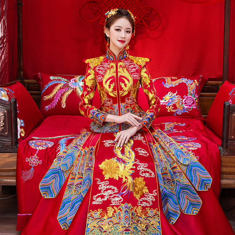 High Quality Royal Women Marriage Suit Chinese Red Long Sleeve Cheongsam Exquisite Embroidery Phoenix Qipao Lady Hanfu Clothing
