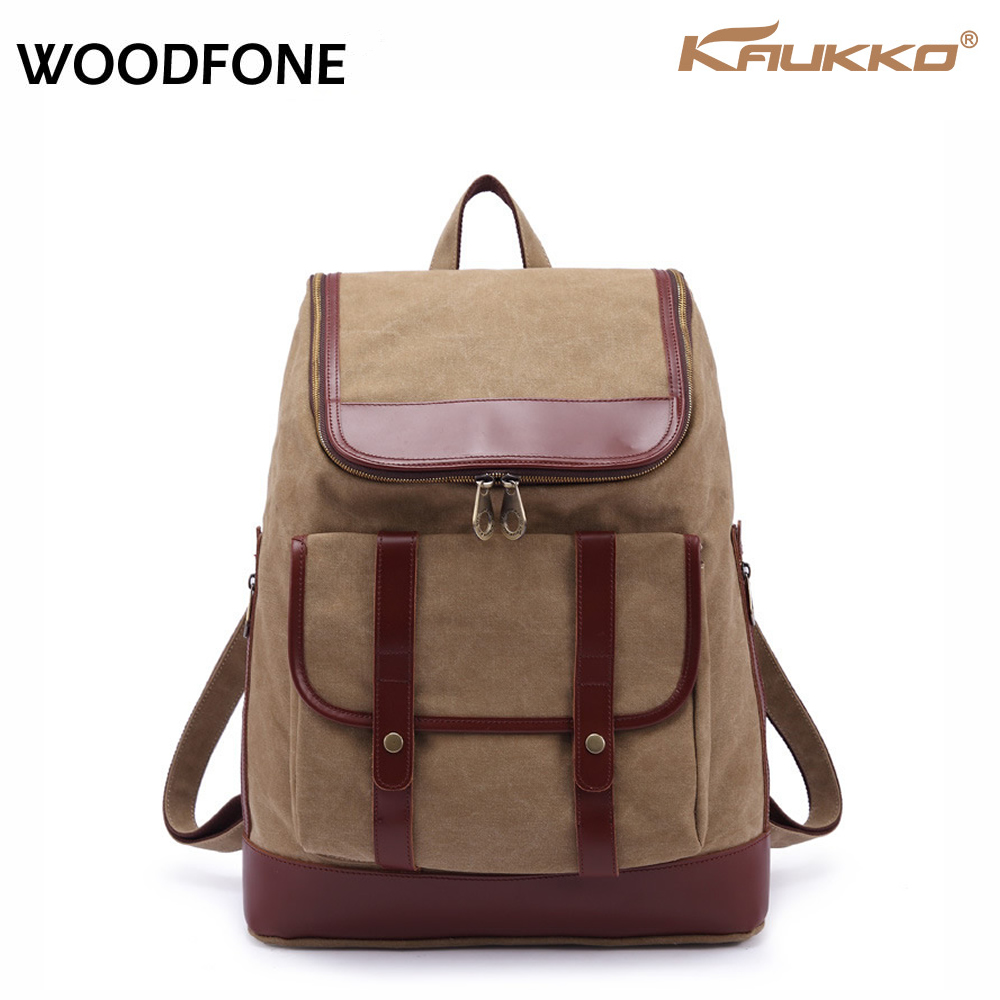 Original KAUKKO New Korean Leather Canvas Shoulder Bag Schoolbag Men and Women British Style Universal