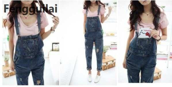 d3b362491b32 2018 New Stylish Casual Loose Vintage Women Denim Overalls Scratched Washed Ripped  Hole Girl Full Lengt