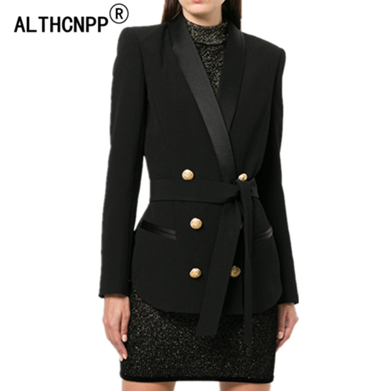 Original Design Women Blazers and Jackets 2018 Autumn Winter Fashion Double Breasted Metal Buttons Slim Was Thin Blazer Feminino