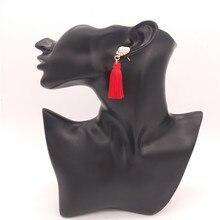 BK  many Colors FASHION Tassel ALLOY pearl earrings with FLOWER LONG WOMEN EARRINGS tassel