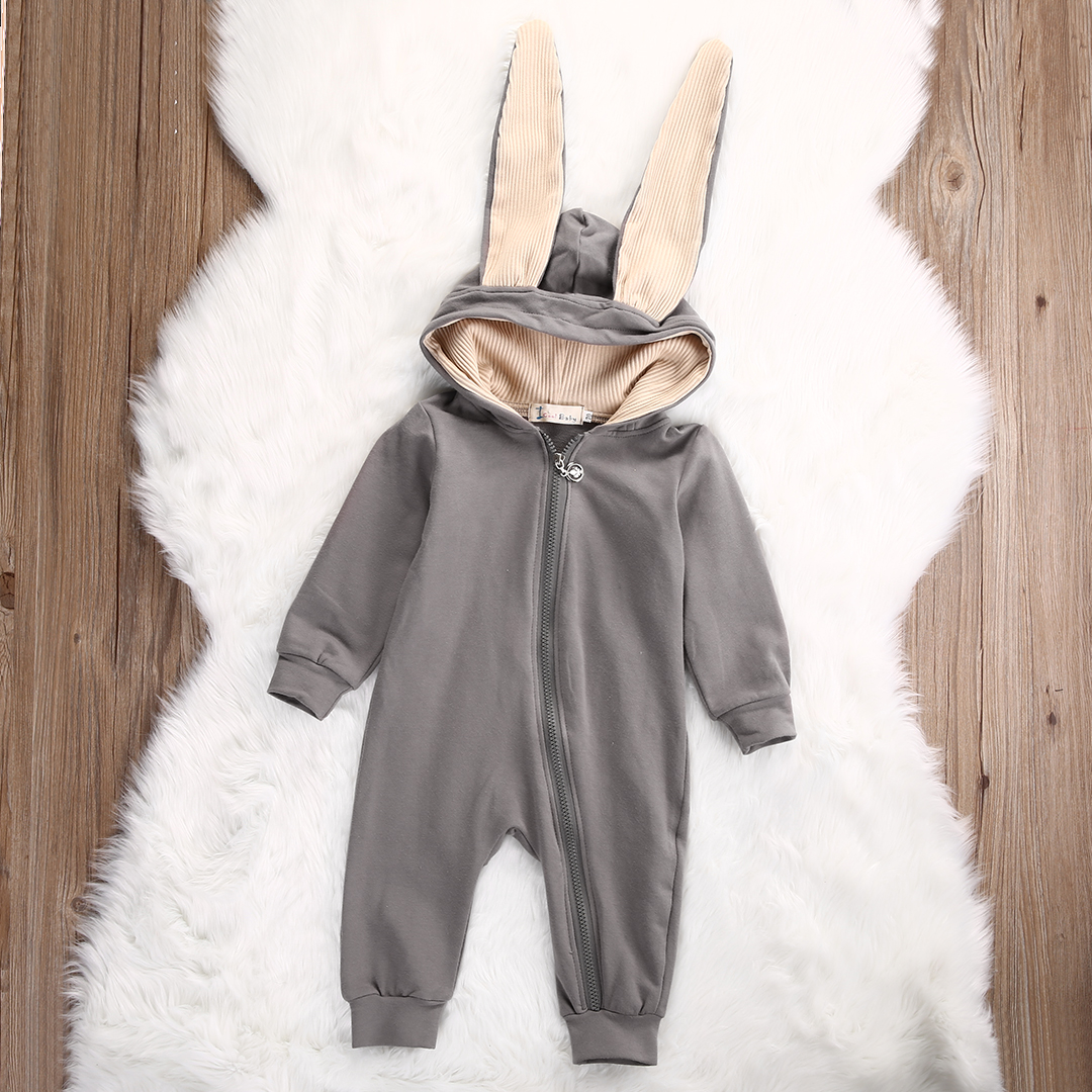 b7084a33e3d1 2018 Cute Infant Baby Girl Boy Clothes Cute 3D Bunny Ear Romper ...