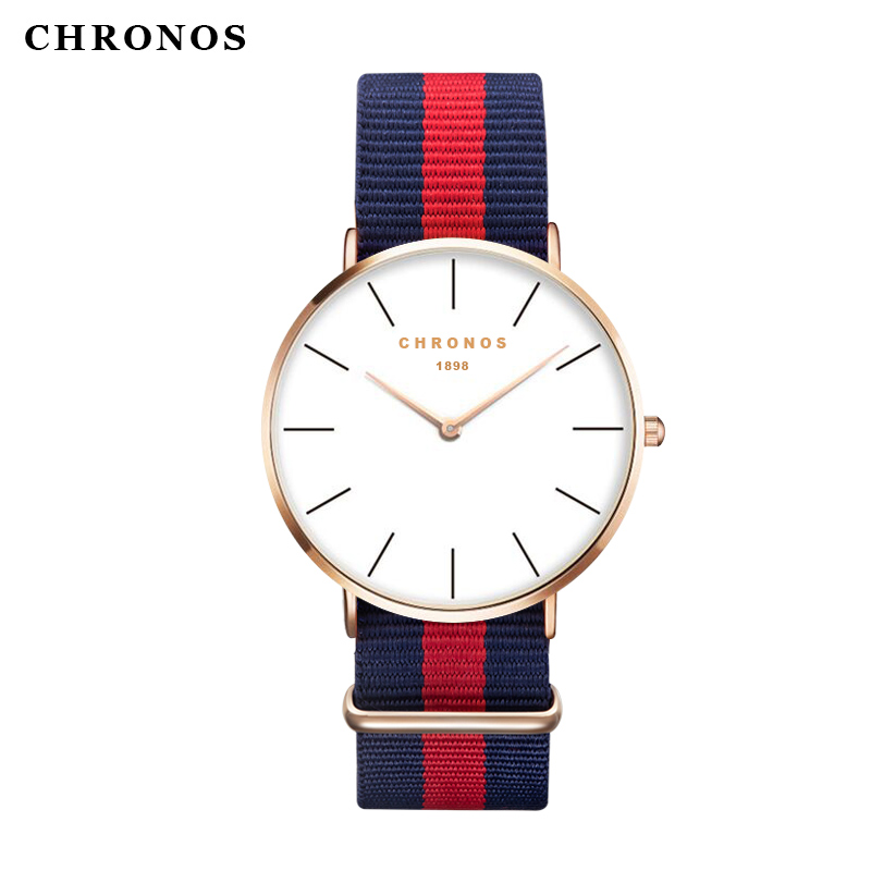 CHRONOS brand fashion men's watch casual ladies quartz watch simple nylon strap hit color couple watch Relogio Masculino stylish women s hit color spaghetti strap blouse