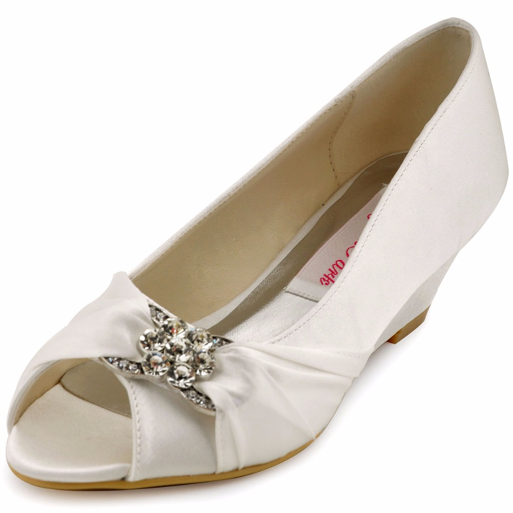 Ivory Wedding Wedge Heels: Shoes Woman WP1403 Ivory Peep Toe Bridal Party Pumps Prom