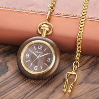 Retro Unique Royal Black Sandalwood Quartz Pocket Watch Fashion Round Dial Wood Watch with 30cm Gold Chain Men Hour Clock Gifts