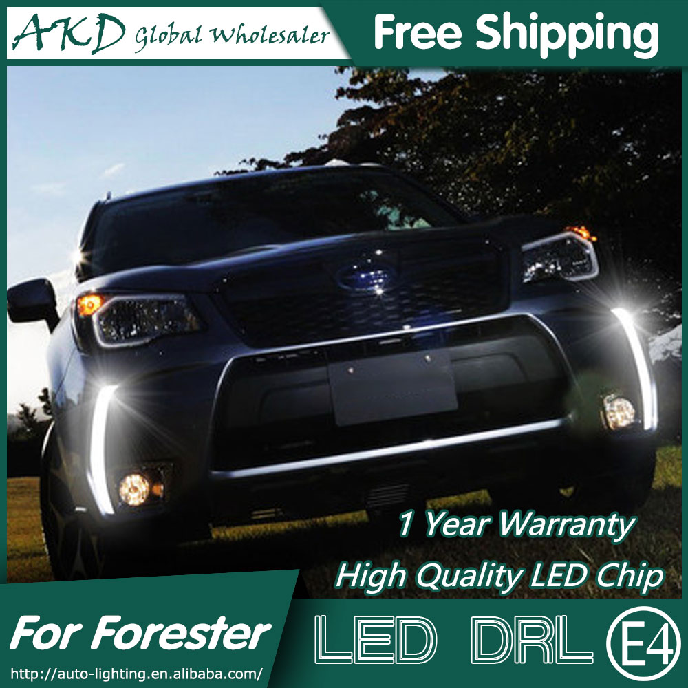 AKD Car Styling for Forester DRL 2014-2015 New Forester LED DRL Cob LED Running Light Fog Light Parking Accessories akd car styling for kia sportage r drl 2014 new sportager led drl korea design led running light fog light parking accessories