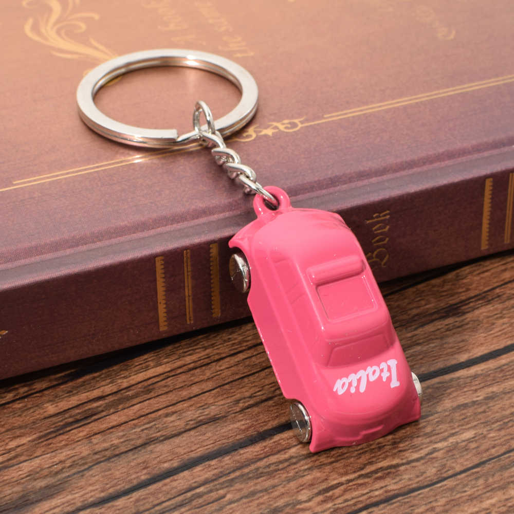 Vicney Pink Italy Car Keychain Italy Flag Pattern Cute Car For Women High Quality Zinc Alloy Keyring For Bag Charm Girl Jewelry