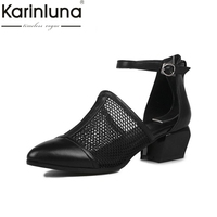 2017 Brand New Cut Outs Full Grain Leather Black Med Heels Women Shoes Woman Sandals Nature