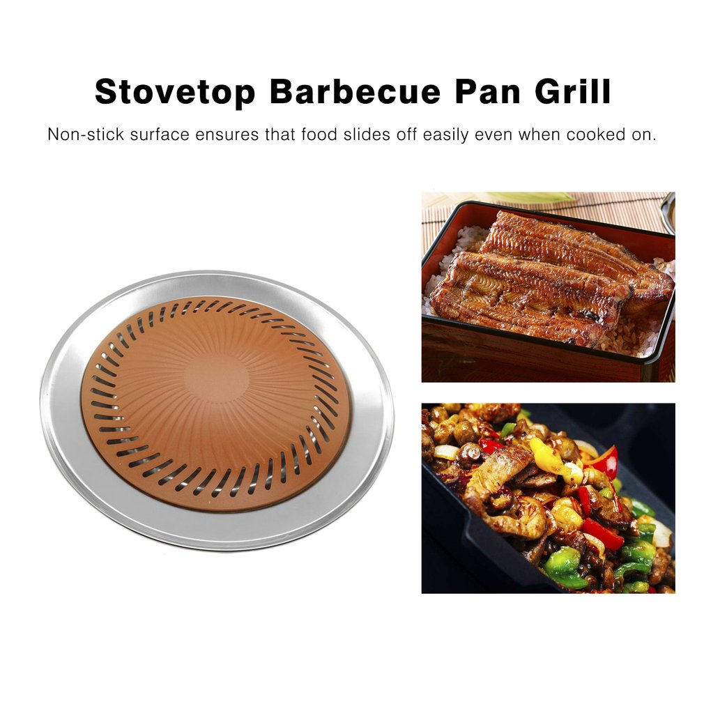 Non-stick Smokeless BBQ Kitchen Barbecue Plate Stovetop Kitchen Grill Stove Cooking Frying Pan Multifunctional Titanium