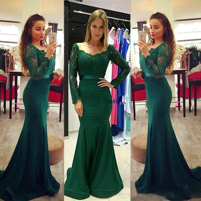 3a3bb7fd15b8b9 New Arrive Dark Green Chiffon Mermaid Prom Dresses 2017 New Long Sleeve  Sweep Train Pageant Evening