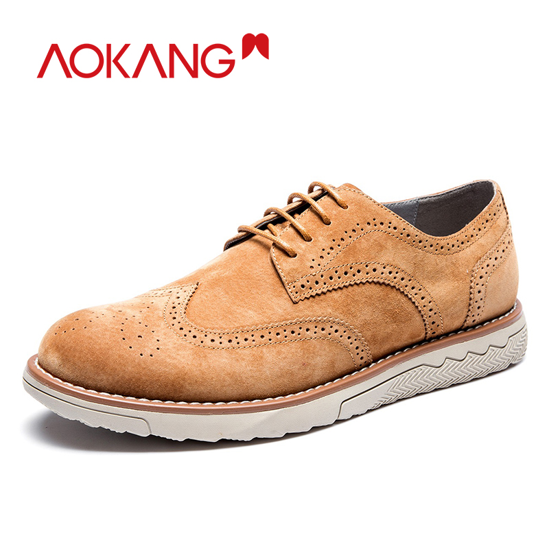 AOKANG New Arrival Men Brogue Shoes Comfortable Breathable Suede men leather Dress Shoes high quality formal